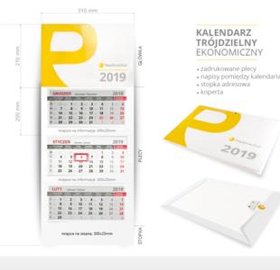 kalendarz trójdzielny ekonomiczny pakowany w kopertę