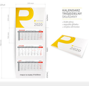 kalendarz składany 2020